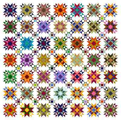 """QUINTESSENTIAL STARS - 101"""" - Pre-cut Quilt Kit by Quilt-Addicts King size"""