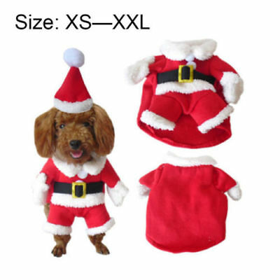 Pet Dog Christmas Hooded Santa Shirt&Hat Coat Party Clothes Puppy Costume XS-XL