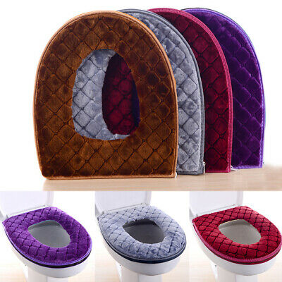 Washable O Shaped Toilet Seat Cover Polyester Plush Warmer Overcoat Tool