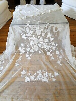 Antique Linens- Circa 1900, Lovely Lace Bedspread W/Matching Pillowcase