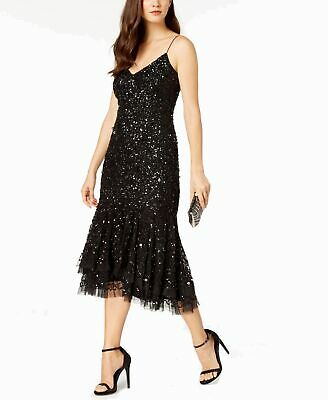 Adrianna Papell Womens Sheath Dress Black Size 6 Sequined Strappy Tulle $249 054