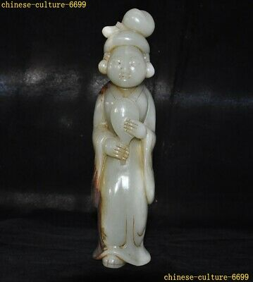 """10"""" Ancient Hetian Old jade Tang Dynasty palace Belle beauty woman people statue"""