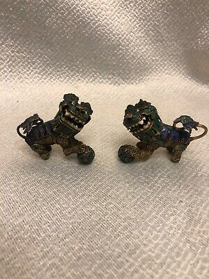 Antique Vermeil Gilt Silver Mesh Cloisonne Enamel Chinese Foo Dogs Moving Heads