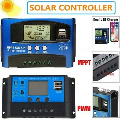 100A PWM Solar Panel Regulator Battery Charger Controller 12//24V With LCD USB