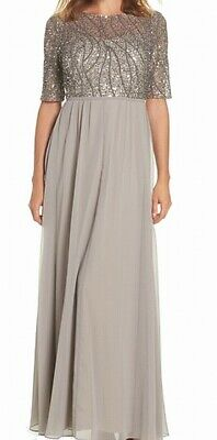 Adrianna Papell Womens Gown Gray Size 16 Illusion-Embellished Chiffon $219 093