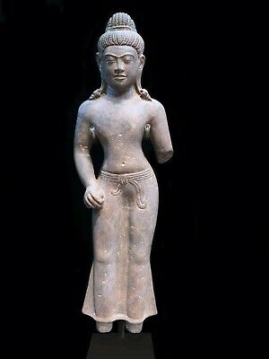 A STANDING FIGURE OF A MALE DEITY. KHMER BAPHUON STYLE. DVARAVATI INFLUE. 11th C