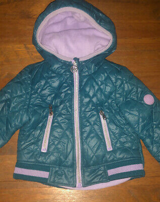 MICHAEL KORS MK Girls Hooded Padded Quilted Rain Jacket. Age 2. RRP £65. VGC