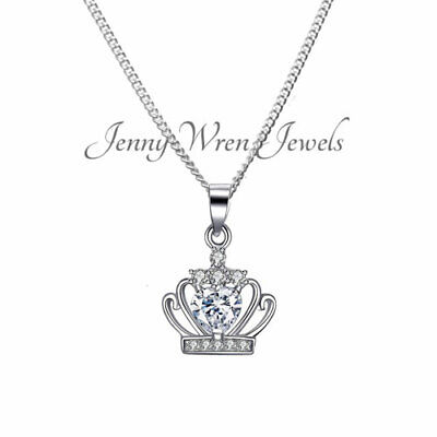 Children's Girl's Jewellery PRINCESS CROWN STERLING SILVER 925 Necklace & Chain