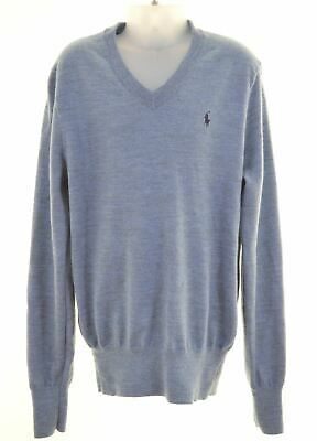 POLO RALPH LAUREN Boys V-Neck Jumper Sweater 10-11 Years Medium Blue Wool  AW18