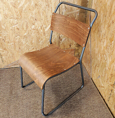 Retro Cafe Chair Metal & Ply Wood Seat Stacking Bar Industrial School Vintage