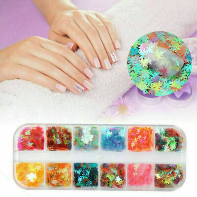 12-boxes Boxed Nail Art Glitter Sequins Autumn Maple Color Hologr Leaf Nail U1G5