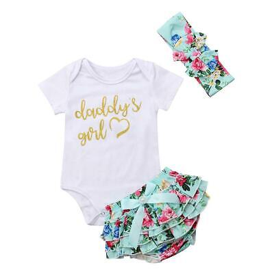 Floral Toddler Baby Girls Clothes Set Letter Print Romper+Shorts+Headdress