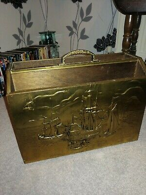 Vintage Brass And Wood Fireside Paper Rack Ships Boats
