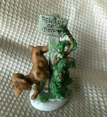 Vintage Dog Peeing on Tree Figurine - Bisque Porcelain