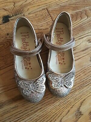 George Pretty Princess silver sparkly girls dress shoes - UK kids Size 10