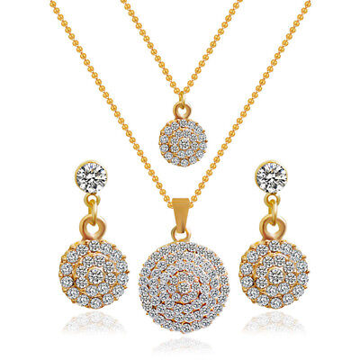 Wedding Jewelry Sets Gold Plated Necklace Earrings Women Crystal Jewelry Set  I