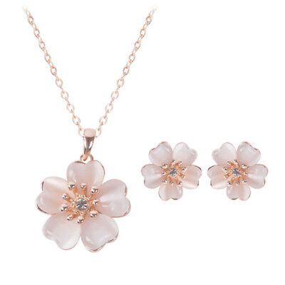 Fashion Stud Earrings Necklace Set Cute Flower Party Prom Jewelry Accessories  I