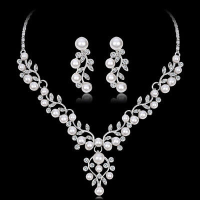 Fashion Imitation Pearl Short Necklace Earrings Jewelry Set Prom Party Accesso I