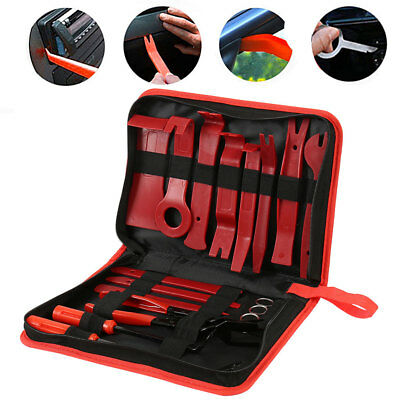 19pcs Car Door Dash Panel Audio Stereo Trim Removal Pry Tool Kit & Clips Pliers