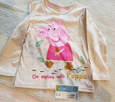 Girls Long sleeved t shirt Peppa pig marks and Spencer m&s BNWT  2-3 Christmas