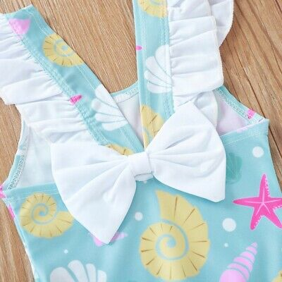 Baby Girls Cute Bow Swimwear Shell Print Flare Sleeveless Bodysuit Swimsuit
