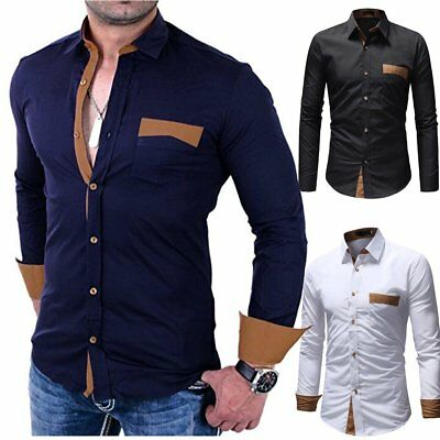 Mode Hommes Luxe Manches Longues Casual Mince Fit Elegant Tenu Chemise Gril I8L2