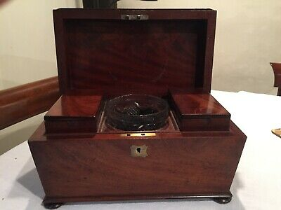 Antique Tea Caddy Georgian In Very Good Condition Mahogany £199