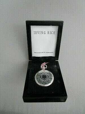 Irving Rice & Co Vintage Antique Style Compact w/ Wooden Box Pocket Watch Design