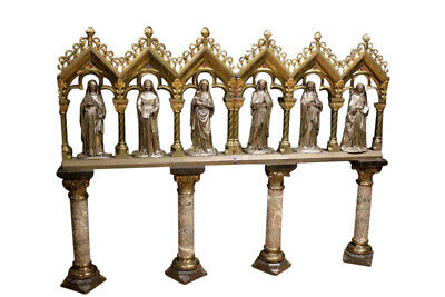 Grandiose & Ornate Gothic Church Chapel with 6 Large Bronze Statues, 19th Cntry