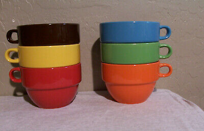 Very Nice Set of 6 World Market Heavy Ceramic Cereal -Soup -Salad Bowls/w Handle