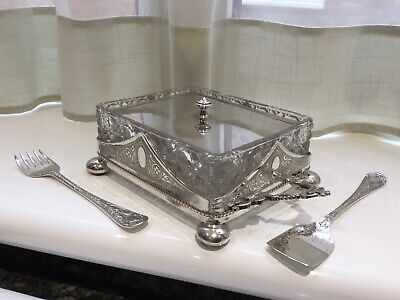 Superb Antique Victorian  Silver Plated Chased Sardine Dish And Servers