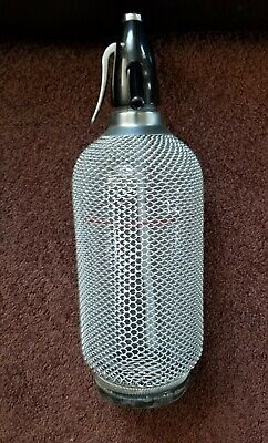 Vintage Sparklets Seltzer Syphon Wire Mesh Glass Bottle, Made in Czechoslovakia