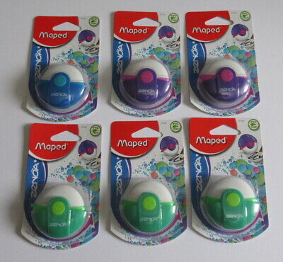 Maped Zenoa PVC Free Erasers with Protective Case x 6 - Mixed Colours - New.