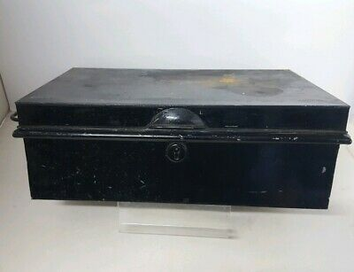 Antique Vintage Metal Deed Box Black Metal Storage Tin