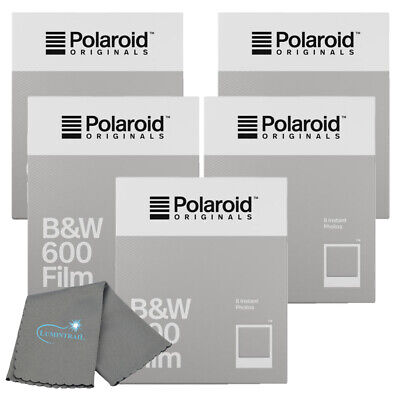 Polaroid Originals 4671 B&W Instant Film 600 & i-Type Cameras 5-PACK + Cloth