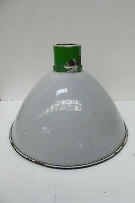 Vintage Green Enamel Industrial Bowls Tennis Club Factory Light Shade Grey Paint