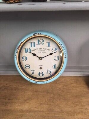 Antique Style Blue Wall Clock With A Distressed Worn Finish. Brand New. Rustic