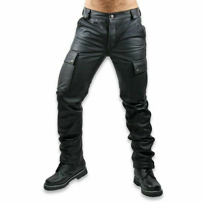 Mens New Genuine Leather Pants Cargo Pockets Saddle Back Trousers Breeches Style