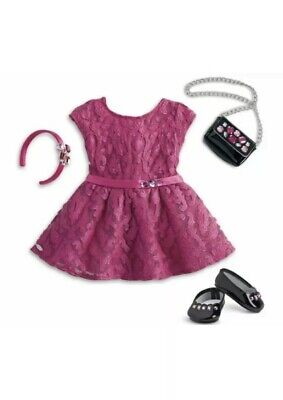 American Girl MERRY MAGENTA Pink Outfit Purse Dress Shoes Christmas    NO Doll