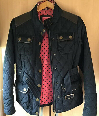 Next Girls Navy Blue Quilted Jacket/coat With Faux Leather Age 13/14 Yrs
