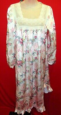 KATHRYN Vintage Pink Rose Paisley Print Satin Dressing Gown Dress Lingerie Sz L