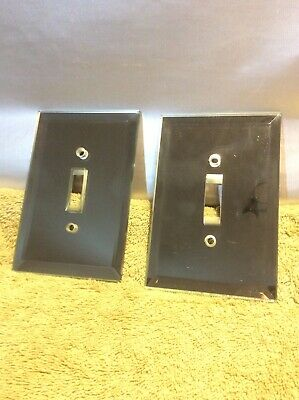 2 Vintage mirrored switch plate covers  beveled glass