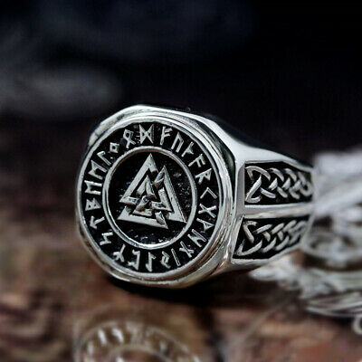 Men Viking Rings Triangle Warrior Rune Stainless Steel Ring Norse Amulet Jewelry