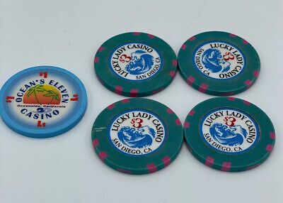 $1 Poker Chip Lot San Diego, CA LUCKY LADY CASINO X 4 And OCEAN's 11 Chip