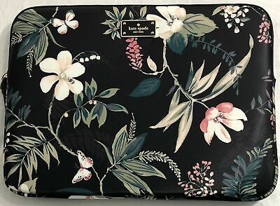 Kate Spade New York Wilson Road Botanical Floral Black Laptop Notebook Sleeve