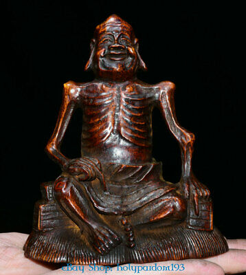 """4"""" Collect Old Chinese Bamboo Hand-Carved Arhat lohan Buddha Statue Sculpture"""
