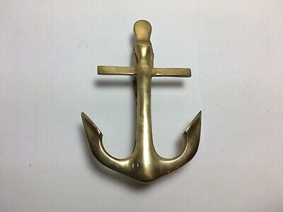 Vintage Solid Brass Anchor Door Knocker Nautical Home Decor 5""