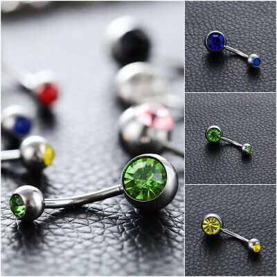 Steel Clip on Body Jewelry Navel Bar Button Ring Non Piercing Belly Bars