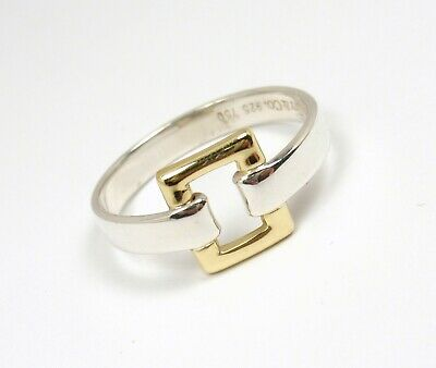 Rare Vintage Tiffany & Co Sterling Silver 18K Gold Square Buckle Ring Size 6-1/4