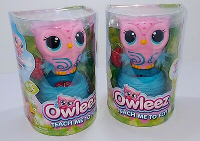 2 Pink Owleez Flying Baby Owl Interactive Toy with Lights and Sounds